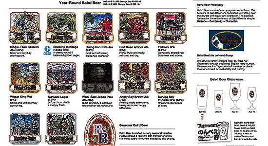 beer menu at the hakuba taproom