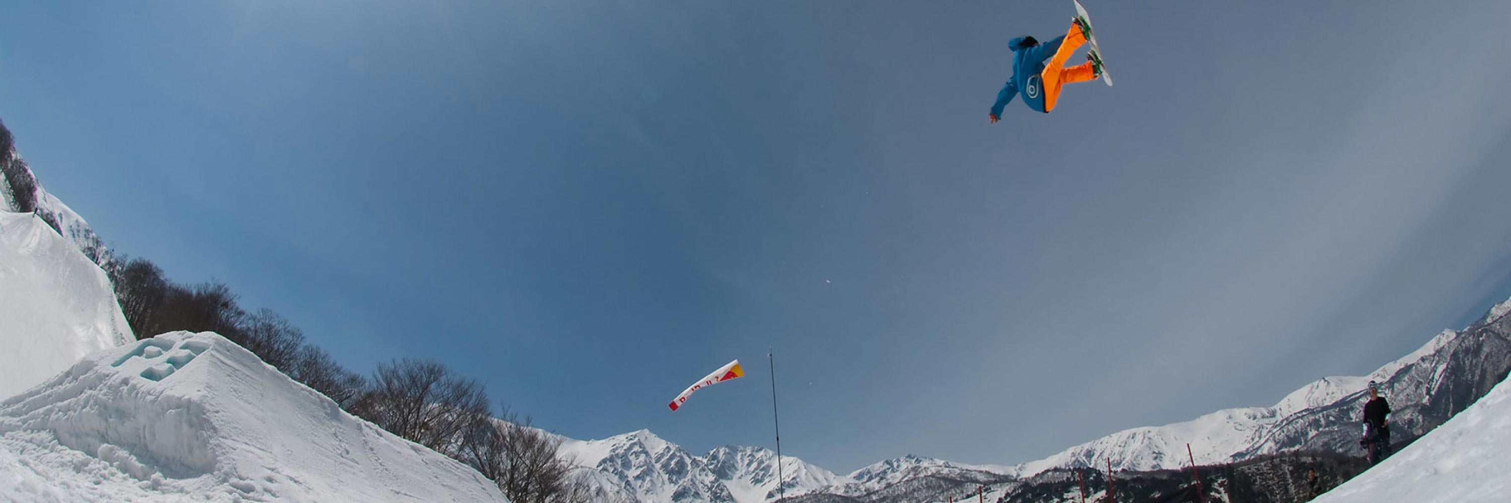 getting air snowboarding in hakuba